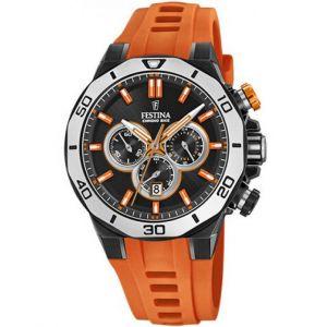 Festina Montre F20450-2 - CHRONOBIKE Chronographe,Dateur Bracelet Silicone Orange Boitier Acier Noir Homme