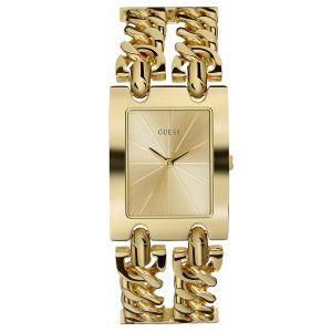 Guess Montre W1117L2 - MOD HEAVY METAL Acier Doré Double Bracelet Chaîne Femme