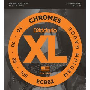 D'Addario Cordes pour basse Chromes ECB82, Medium, 50-105, cordes longues