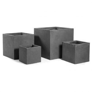 Mcollection Pot carré GENEVE 23x23xH.23 Gris