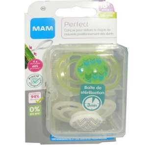 Mam 2 sucettes Perfect Graphique/Bleu + Boîte de stérilisation 18 mois +