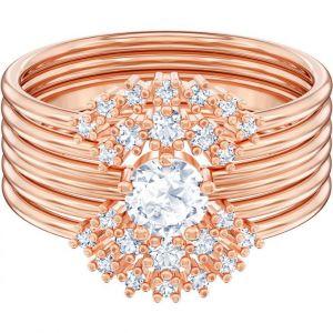 Swarovski : Bague MOONSUN-RING-ROSEGOLD-Bague Glam Doré Rosé Multi-Anneaux Femme