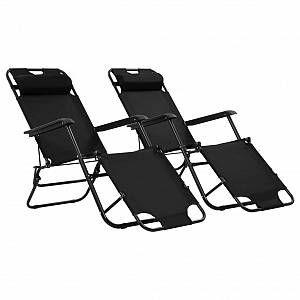 VidaXL Chaises longues pliables 2 pcs avec repose-pied Noir