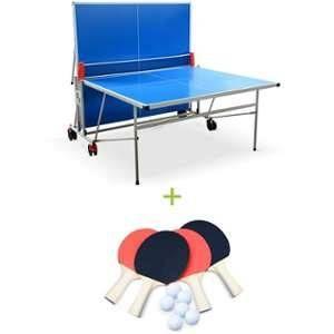 Alice's Garden Table de ping pong OUTDOOR bleue, avec 4 raquettes et 6 balles