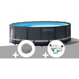 Intex Kit piscine tubulaire Ultra XTR Frame ronde 5,49 x 1,32 m + 20 kg de zéolite + Kit de traitement au chlore