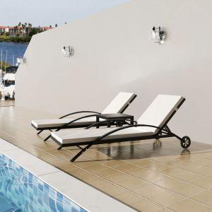 VidaXL Ensemble de chaise longue trois pièces rotin poly noir