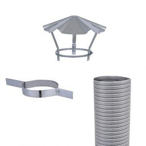 Isotip Joncoux Kit flexible FLEXITHERM : 7m + collier de tubage + chapeau chinois - 125 mm