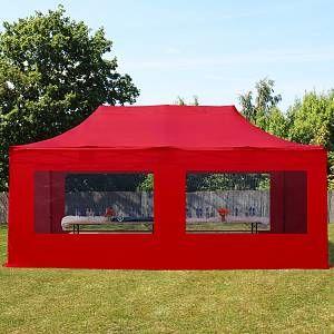 Intent24 Fr Tente pliante 3x6m PES 400 g/m² rouge imperméable barnum pliant, tonnelle pliante