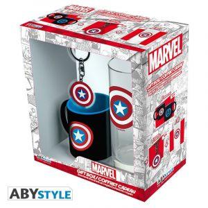 Abysse Corp Coffret - Marvel - Verre 29 cl + Porte-clés + Mini Mug Captain America