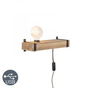 Qazqa Applique industrielle bois USB - Reena Industriel Luminaire interieur