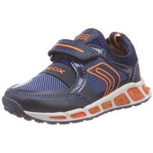 Geox J Shuttle A, Sneakers Basses garçon, Bleu (Navy/Orange C0820), 33 EU