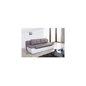 Relaxima Canapé convertible Denfert 3 places avec coffree de rangement en simili et tissu