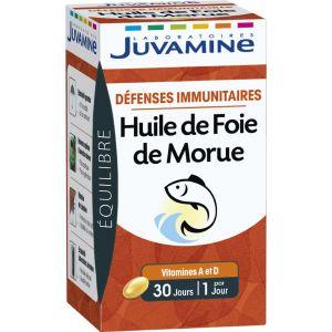 Juvamine Défenses immuniataires Huile de Foie de Morue 30 gélules