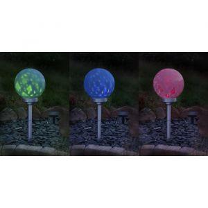 Galix Boule à énergie solaire rotative - 7 Lm - Hauteur ajustable - Ø 25 cm - Plastique - 0,3 W - Nombre de Lumens : 7 - Durée maximum d'éclairage : 8 h - Interrupteur On/Off - Ø 25 cm