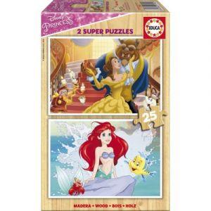 Educa 2 puzzles en bois Princesses Disney (25 pièces)