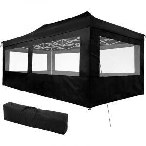 TecTake Tonnelle de Jardin Terrasse Pliante Autoportée Réglable 6 x 3 m Structure en Aluminium à 4 Parois Noir + Sac de Transport