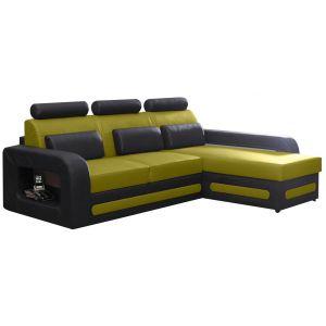 Comforium Canapé d'angle convertible 3 places en cuir synthétique noir et vert avec coffre méridienne côté droit