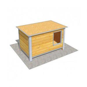 Difac Niche en bois isolée avec toit plat pour chien Medium ouverture longueur - 120 x 75 x 75 cm