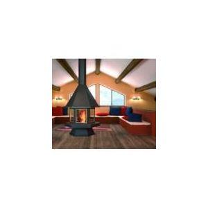 Image de Focgrup CH56 - Cheminée centrale avec porte encadrement inox satiné, base et foyer réfractaire
