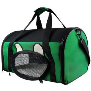 Todeco Sac de Transport pour Animaux, Sac pour Chats et Chiens, 50 x 31 x 29 cm, Vert, Matériau: Mesh material, Polyester