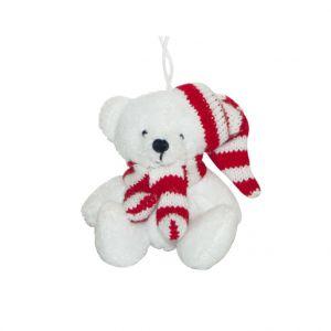LG Peluche ours blanc écharpe bonnet rayé rouge