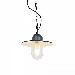 Qazqa Industriel Suspension/Lustre / Luminaire/Lumiere / Éclairage extérieure industrielle gris foncé avec chaîne - Kansas Verre/Metal / Rond Compatible pour LED E27 Max. 1 x 60 Watt/Jardin /