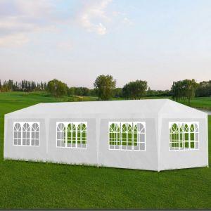 VidaXL Tonnelle Pavillon de jardin blanc 3x9m
