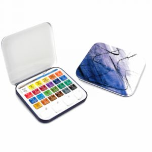 Daler Rowney Set de 24 demi-godets d'Aquarelle Aquafine, 1 pinceau et 1 palette