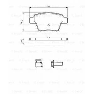 Bosch Jeu de 4 plaquettes de frein arrière PEUGEOT 307, CITROEN C4, PEUGEOT 207 (0300 986 494 605)