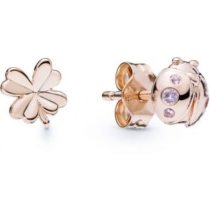 Pandora Boucles d'oreilles Animaux 287960NPO - Boucles d'oreilles Coccinelle et Trèfle en Argent Doré Rose