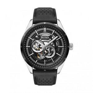 Hugo Boss Montre 1513748 - Grand Prix myota automatique Boitier acier Cadran noir & gris Bracelet cuir noir Homme