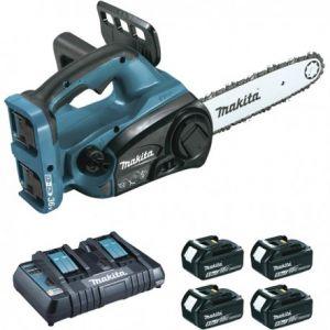 Makita Tronçonneuse d'élagage 36 V 2 x 18 V Li-Ion 5 Ah 30 cm (4 batteries + kit d'accessoires) DUC302PT4