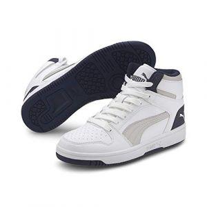 Puma Rebound Layup SL JR, Baskets Mixte Enfant, White Gray Violet Peacoat, 39 EU