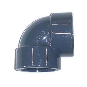 Centrocom Coude mixte en PVC taraudé à 90° - Femelle à coller / Femelle à visser - Diamètre 63 - Taraudage 50/60