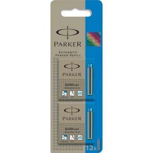 Parker Blister 12 cartouches courtes Mini Quink, Bleu effaçable