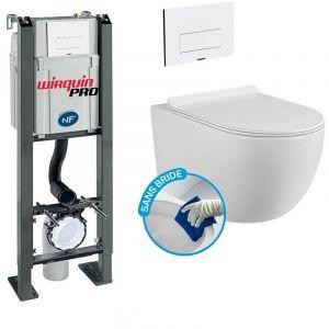 Wirquin Pack Complet WC Sans Bride Bati Autoportant + Cuvette sans bride + Plaque Blanche DESIGN