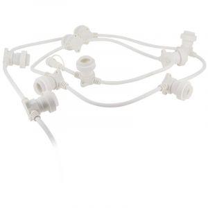 Xanlite Guirlande extérieure, personnalisable et extensible, câble blanc, compatible culot E27 (vendue seule, hors ampoules)