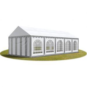 Intent24 TOOLPORT Tente Barnum de Réception 4x10 m PREMIUM Bâches Amovibles PVC 500 g/m² gris-blanc + Cadre de Sol Jardin.FR