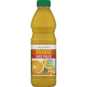 Monoprix Jus d'orange avec pulpe 100% fruit pressé, 100% pur jus d'orange