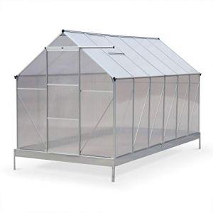 Alice's Garden Serre de Jardin Sapin en Polycarbonate 7m² avec Base, 2 lucarnes de Toit, gouttière, Polycarbonate 4mm