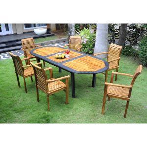 Wood-en-stock Table de jardin en teck huilé et résine tressée avec 6 fauteuils