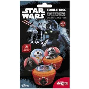 16 mini disques en sucre Star Wars 3,4 cm