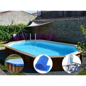 Sunbay Kit piscine bois Safran 6,37 x 4,12 x 1,33 m + Bâche hiver + Bâche à bulles + Kit d'entretien