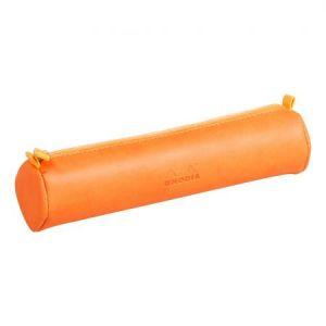 Rhodia 318994C - Trousse ronde rama, simili cuir italien, coloris tangerine