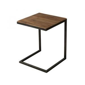 Bout de canapé industriel en bois teck + pieds en métal L 40 cm