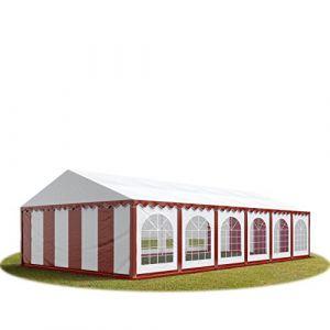 Intent24 TOOLPORT Tente Barnum de Réception 6x12 m PREMIUM Bâches Amovibles PVC 500 g/m² rouge-blanc + Cadre de Sol Jardin.FR