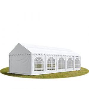 Intent24 TOOLPORT Tente Barnum de Réception 4x10 m PREMIUM Bâches Amovibles PVC 500 g/m² blanc + Cadre de Sol Jardin.FR