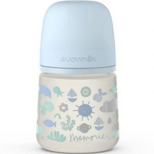 Suavinex Biberon avec tétine symétrique SX PRO S Memories bleu (150 ml)