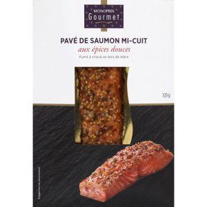 Monoprix gourmet Pavé de saumon mi-cuit aux épices fumé à chaud au bois de hêtre - La barquette de 120g