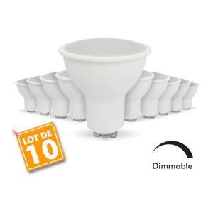 Eclairage design Lot de 10 Ampoules Led GU10 7W eq. 60W Dimmable | blanc-neutre-4000k